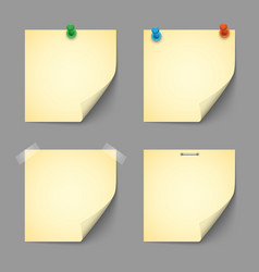 Yellow notice papers with pins and scotch vector