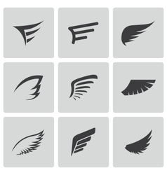 Black wing icons set vector