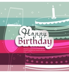 Birthday card on stripes colorful background vector