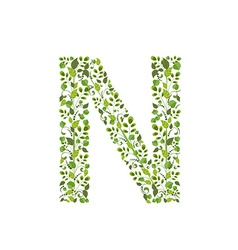Spring green leaves eco letter n vector