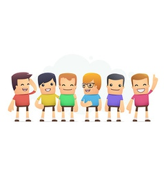 Boys in colored t-shirts vector