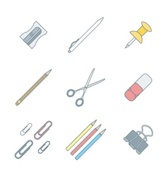 Colored outline various stationery icons set vector