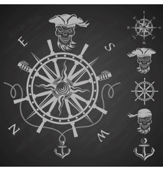 Sea emblem and a set of pirate elements vector