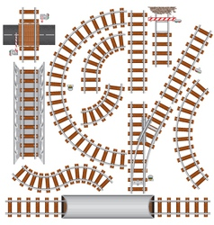 Railroad isolated elements vector