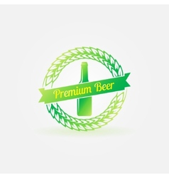 Premium beer bottle bright green logo vector