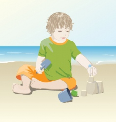 Child on the beach vector