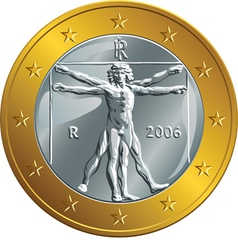 Italian money gold coin euro vector