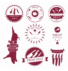 Set of meat shop labels and design elements vector