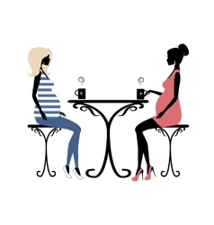 Silhouette of two fashionable pregnant women vector