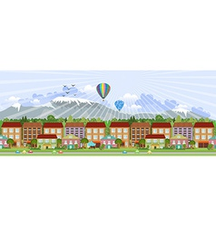 Panorama summer city life vector