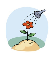 Watering flower vector