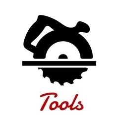 Miter saw with handle black silhouette vector