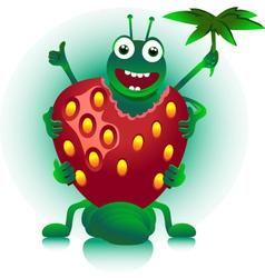 Caterpillar eats berry vector