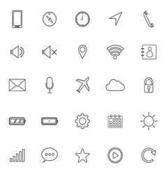 Mobile phone line icons on white background vector