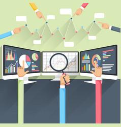 Stock exchange rates on monitors vector