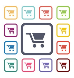 Shopping cart flat icons set vector