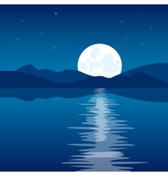 Reflection of the moon in water vector