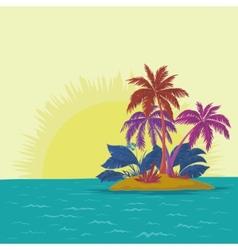 Island and sun vector