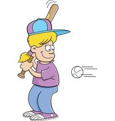 Cartoon girl hitting a baseball vector