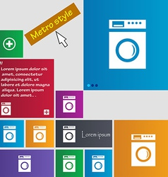 Washing machine icon sign metro style buttons vector