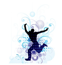 Artistic man jumping poster vector