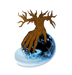 Earth and hand as tree vector