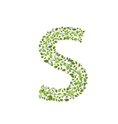 Spring green leaves eco letter s vector
