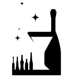 Icon with bottle and wineglass vector