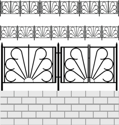 Fence with white bricks vector
