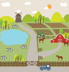Landscape of farm field and hill vector