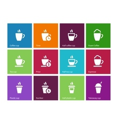 Set coffee cups icons on color background vector