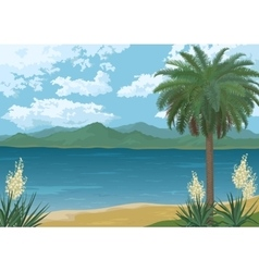 Palm on ocean beach flowers and mountains vector