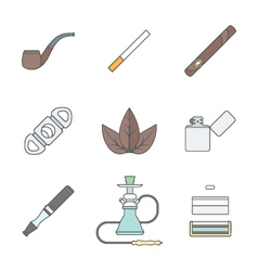 Colored outline various tobacco goods tools icons vector