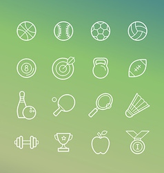 Linear sport and fitness icons vector