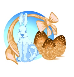 Bunny and chocolate eggs vector