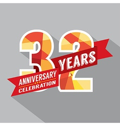 32nd years anniversary celebration design vector