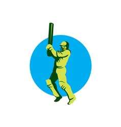 Cricket player batsman batting circle retro vector