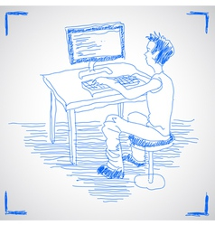 Man working with computer vector