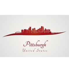 Pittsburgh skyline in red vector