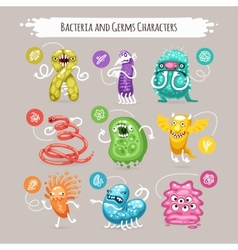 Bacteria and germs characters set vector