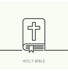 Open bible with a crucifix vector