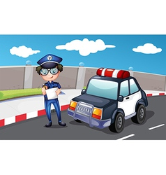 A policeman along the road vector