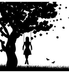 Girl on swing silhouette vector