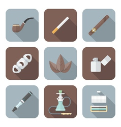 Colored flat style various tobacco goods tools vector