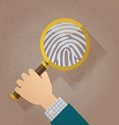 Magnifying glass and fingerprint vector