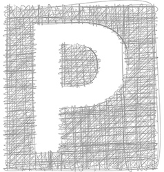 Freehand typography letter p vector