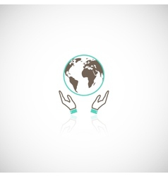 Earth hands icon vector