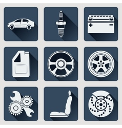 Set of icons auto parts flat design with long vector