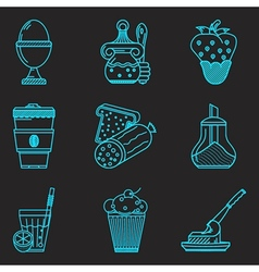 Blue line icons for breakfast menu vector