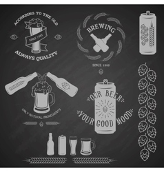 Vintage beer emblem and design elements vector